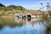 Boathouses And Reed At Lake Kochelsee