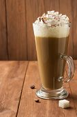 pic of frappe  - cup of coffee on wooden background - JPG