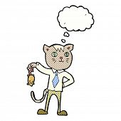 picture of dead mouse  - cartoon business cat with dead mouse with thought bubble - JPG