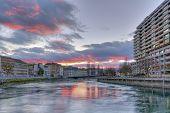 Rhone river, Sous-Terre bridge and buildings, Geneva, Switzerland, HDR