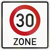 stock photo of traffic rules  - German traffic sign indicating a zone with reduced traffic and a speed limit of 30 kilometers per hour - JPG