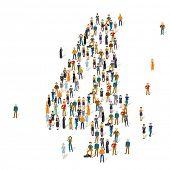 People crowd. Vector figures, 4