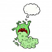 pic of grossed out  - cartoon gross monster being sick with thought bubble - JPG