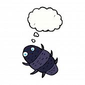 cartoon bug with thought bubble