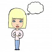 cartoon woman indicating self with thought bubble