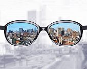 Glasses Looking To City