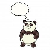 cartoon panda with thought bubble
