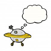 foto of flying saucer  - cartoon flying saucer with thought bubble - JPG