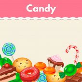 foto of candy cane border  - Background with colorful sticker candy - JPG