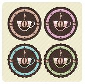 Set of vector coffee icons in vintage colors