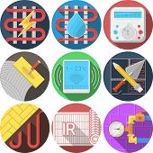 Colored icons vector collection for underfloor heating