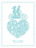 Vector blue and white lace garden plants couple on tandem bicycle heart silhouette frame pattern gre