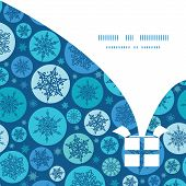 Vector round snowflakes Christmas gift box silhouette pattern frame card template