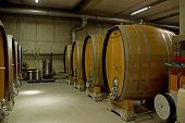 picture of wine cellar  - Wine barrels stacked in the cellar of the winery