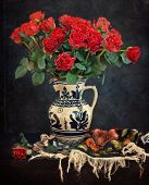 foto of rose  - Still life with a red roses - JPG