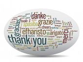picture of thankful  - Conceptual thank you word cloud isolated for business or Thanksgiving Day - JPG