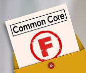 picture of common  - F Grade on report card for new common core educational school lesson guidelines and standards - JPG