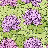 Stylish water lily seamless ornament