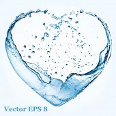 Valentine heart made of blue water splash, vector illustration EPS 8.