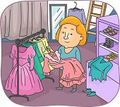 Illustration of a Wardrobe Mistress Returning Previously Used Costumes