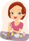 Illustration of a Girl Mixing Essential Oils