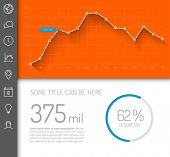 Simple infographic dashboard template with flat design graphs and charts - orange and blue version