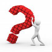 3D Man Block Question Mark Illustration