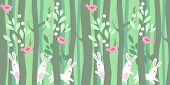 pic of wild-rabbit  - Seamless horizontal pattern with rabbits and trees in spring forest - JPG