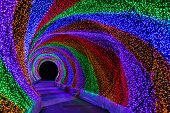 foto of tunnel  - Colorful rainbow tunnel light abstract background in night - JPG