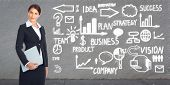 Young Businesswoman over business scheme background