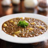 vegan lentil stew with pumpkin pieces