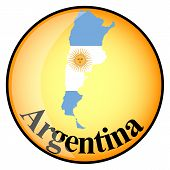 Orange Button With The Image Maps Of Argentina