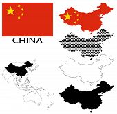 China - Four optional contour maps, National flag and Asia map vector