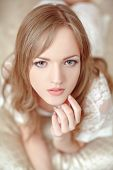 stock photo of nightie  - Beautiful bride in her bedroom - JPG