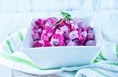 image of lenten  - beet salad in bowl and on a table - JPG