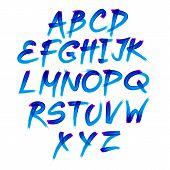 Handwritten Blue Watercolor Alphabet With Numbers Symbols. Vector