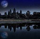 Angkor wat night Siem reap Cambodia UNESCO World Heritage. Elements of this image furnished by NASA.