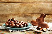 picture of easter eggs bunny  - Chocolate Easter eggs and rabbit on plate - JPG