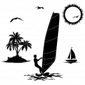 pic of mew  - Set of elements symbolizing vacation in the tropics - JPG