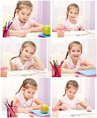 Collection Of Photos Cute Little Girl Writing And Drawing