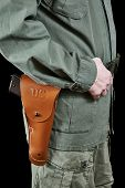 Soldier In Uniform And On Belt Holster With Gun