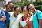 group of happy african university students looking at the camera