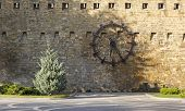 The Clock On The Wall Of The Fortress In Baku