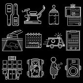 picture of obstetrics  - Set of flat white line vector icons for gynecology and obstetrics on black background - JPG