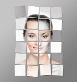 Perfect female face made of different faces. Plastic surgery concept. Sticker collage.