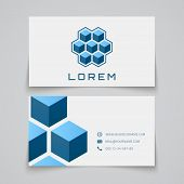 Business card template. Abstract cubes