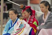 Women demonstrate traditional Korean wedding ceremony in Yongin, Korea.