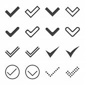 Set of simple icons, ticks, check marks