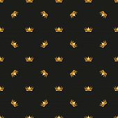 Universal vector seamless patterns tiling. Royal king crown.