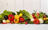 foto of vegetable food fruit  - Fruit and vegetable borders Fruit and vegetable borders on wood table - JPG
